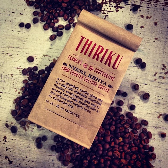 Design and letterpress printed thiriku coffee bags.