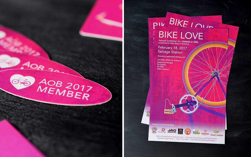 Asheville on Bikes : Bike Love 2017. Collateral included, posters, spoke cards, postcards, stickers, and membership info with custom illustration.
