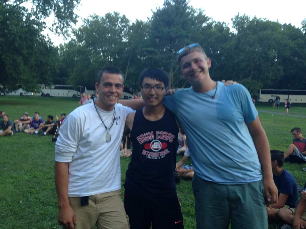 Chia-Heng Chu (middle) with 2015 Snare Alumni Michael Seville and Connor Horwath at DCI East.