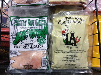Louisiana special: Rouses sells locally caught alligator and turtle meat.