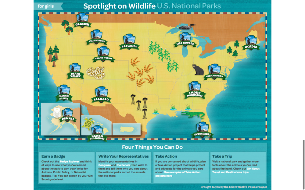 National Parks Map Of Usa.Girl Scouts Spotlight On Wildlife U S National Parks