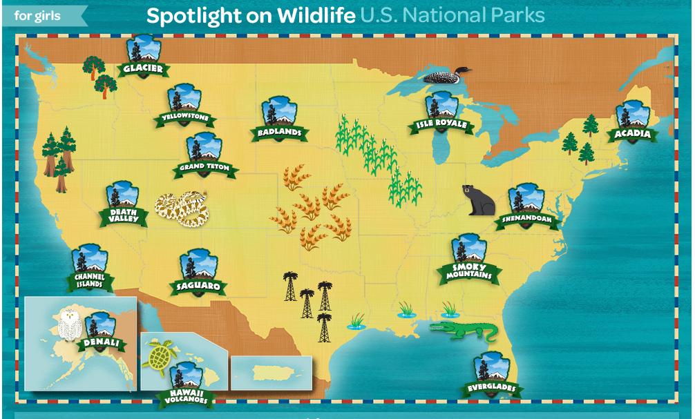 Girl Scouts Spotlight On Wildlife US National Parks - Map of us national park historical sites