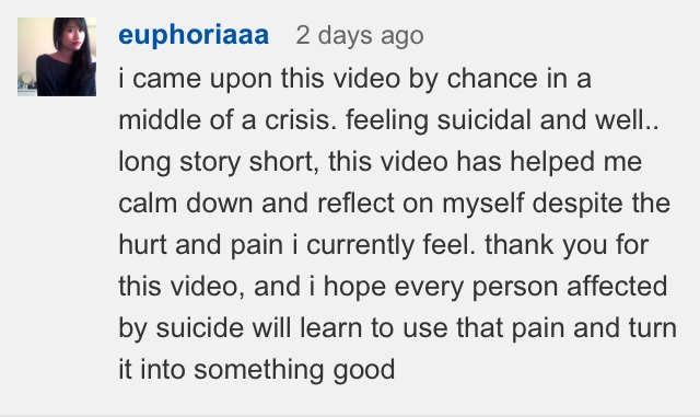 Comment from a YouTube user
