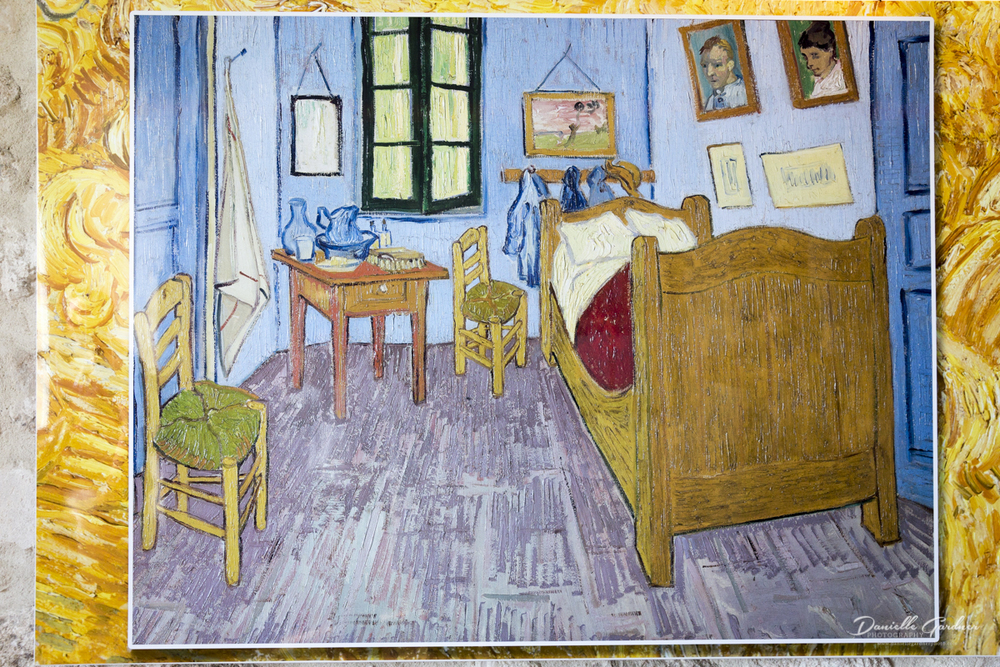 This is the painting Van Gogh made depicting the room he stayed in when he was in the hospital.
