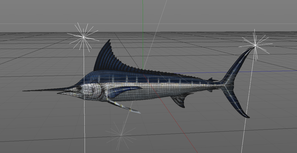 Marlin Posed in Cinema 4D to add to composition
