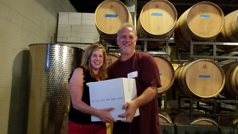 Sharon Simmonds from Horizon Food Group wins the blind wine tasting and takes home a full case of BK Cellars wine.