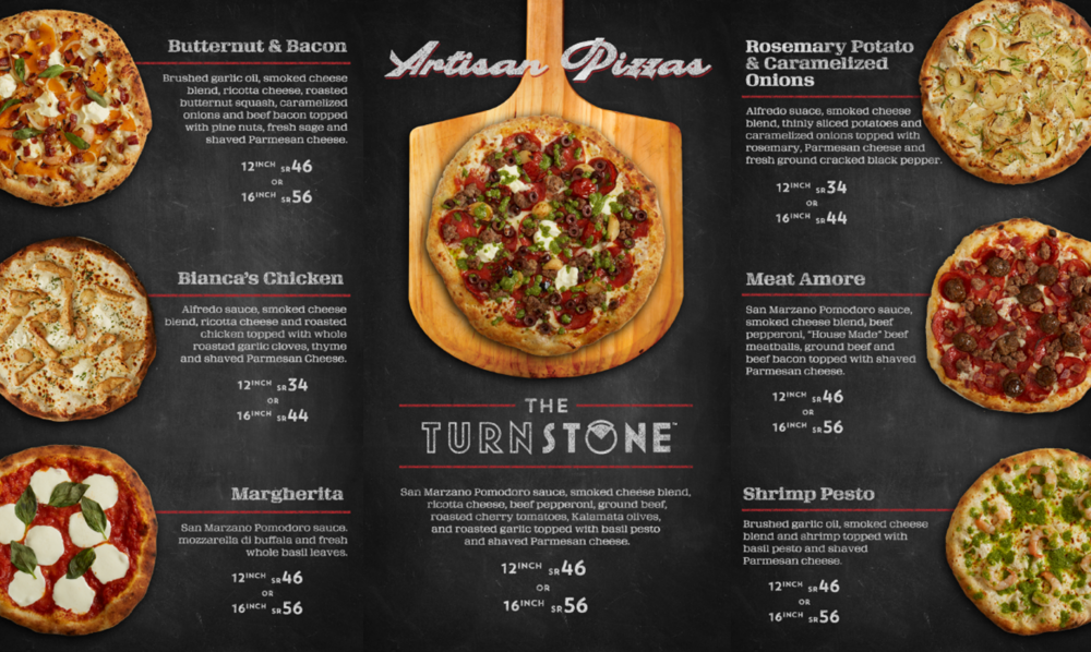 TURNSTONE PIZZA DIGITAL MENU PANELS
