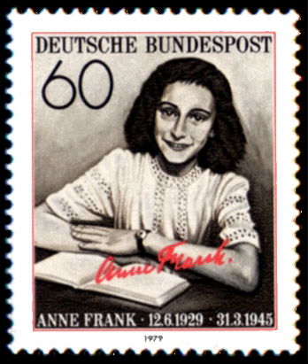 Commemorative stamp honoring Anne Frank, from Germany, 1979.