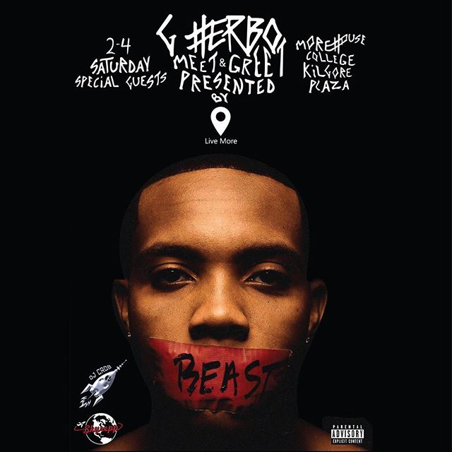 """G Herbo Meet and Greet tomw !! 2-4 @ Morehouse! Free admission, just download the """"g herbo"""" app.  Pull uppp 🚀"""