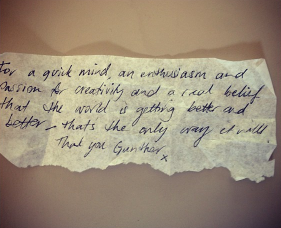 A beautiful, handwritten 'thank you' note from someone who participated in a storytelling lab...