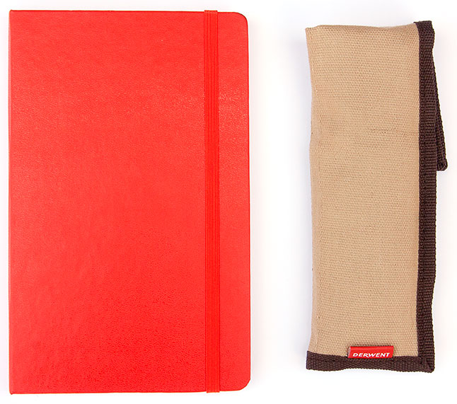 The Moleskine Classic Notebook and the Derwent Khaki Canvas Pocket Wrap