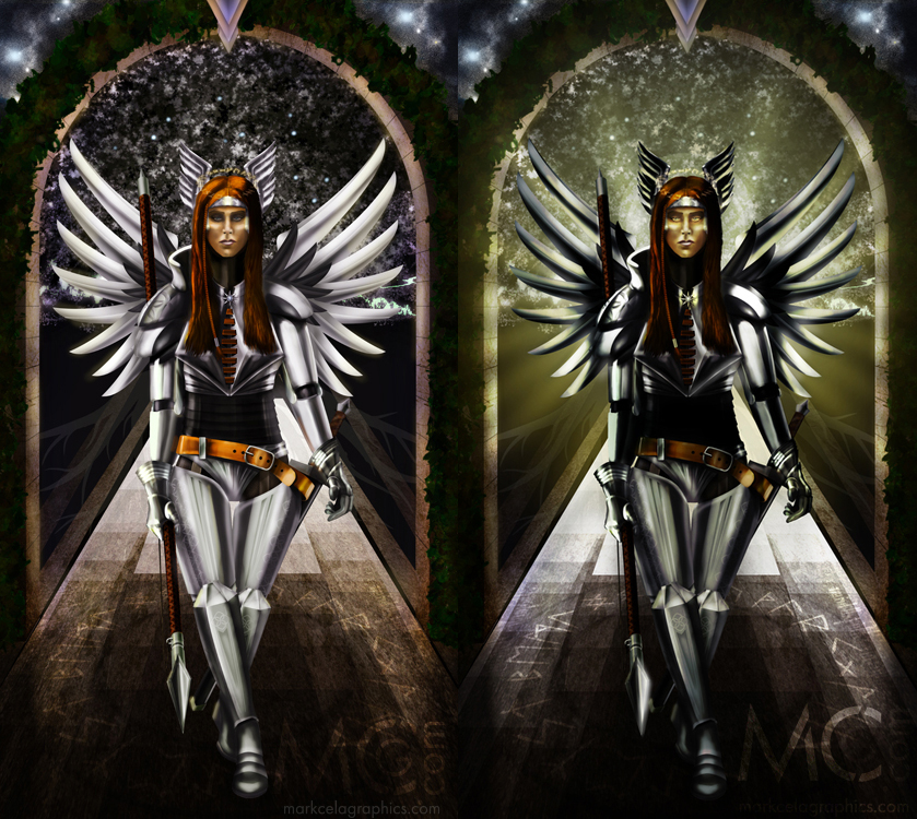 Valkyrie Alter Piece - Original on left; repaint on right.