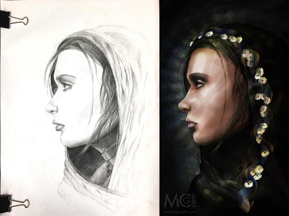 Annunciation   - Original (L), Finished Illustration (R)