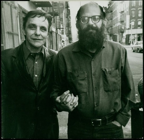 [ Herbert Huncke  and  Allen Ginsberg -  together on East 10th Street, New York City,  three years later, 1970 - Photograph by  Ann Charters ]