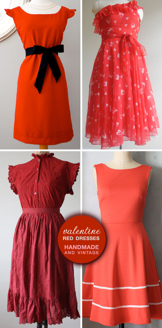 handmade and vintage red dresses for valentine's day, Ideas