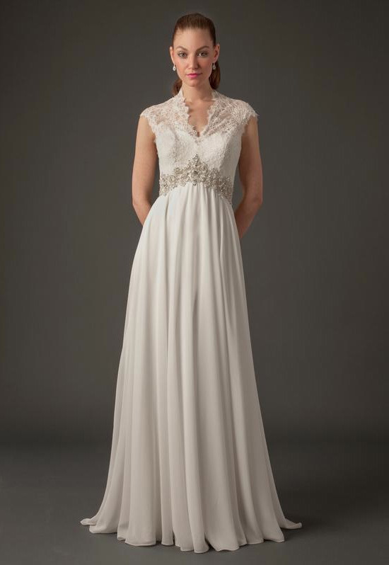 V-Neck Sheath Gown in Silk Chiffon