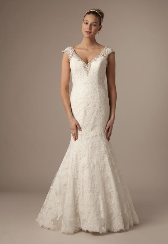 V-Neck Mermaid Gown in Alencon Lace