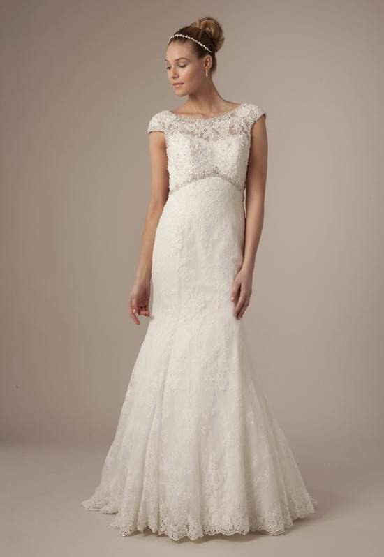 High Neck Mermaid Gown in Alencon Lace