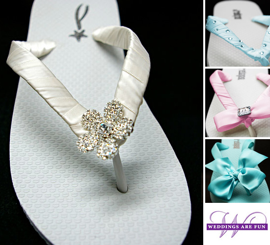 "5fb3844e5 The ""Camellia"" Bridal Flip Flop design is also available in 53 Satin Ribbon  Colors and 9 Wedge Heel and Flat Heel Flop Colors."