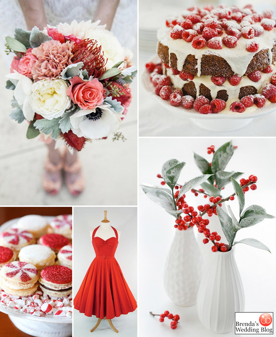 red white green winter holiday wedding