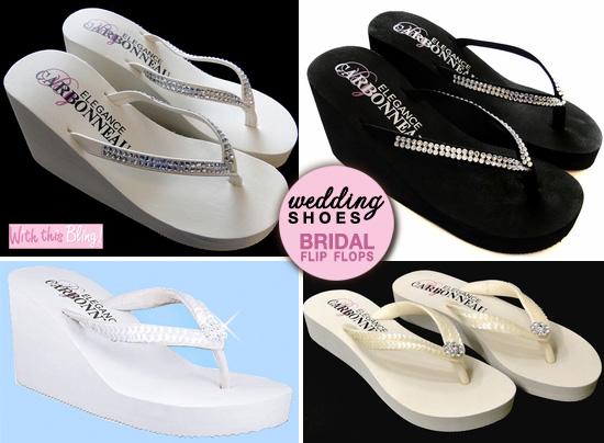 bridal flip flops - lots of sequins and crystals