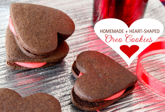 homemade heart shaped oreo cookies