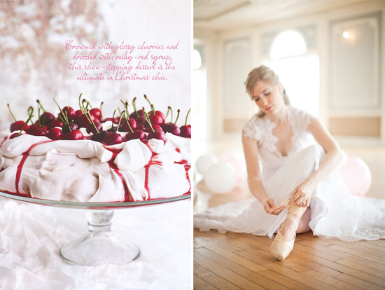 cherry pavlova and a bridal ballet portrait