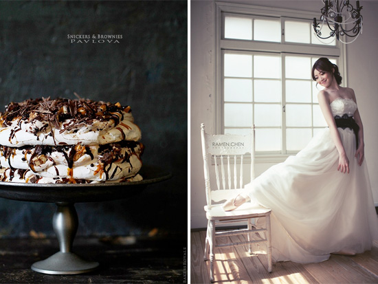 snickers and brownie pavlova with a bride in ballet shoes