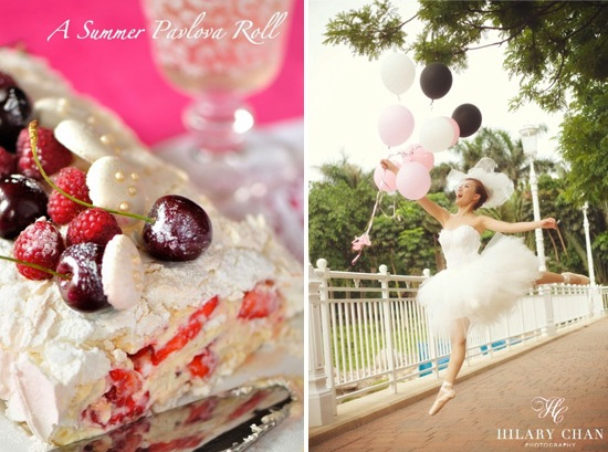 summer pavlova roll with a ballerina bride and balloons