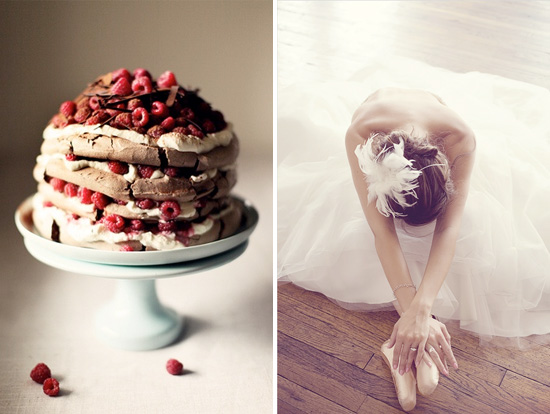 double chocolate and raspberry pavlova with ballerina bridal portrait