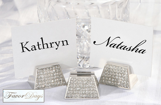 Friday Favor Of The Day Diamond Bling Trapezoid Place Card Holders
