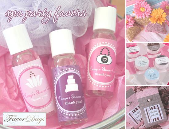 you could also create a whole themed bridal shower or bachelorette party around them favor days carries a great selection of spa themed party favors
