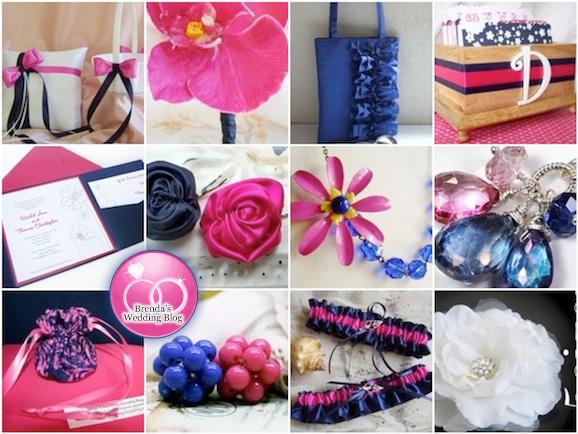 Wedding Inspiration Board : navy blue and fuchsia ruffles