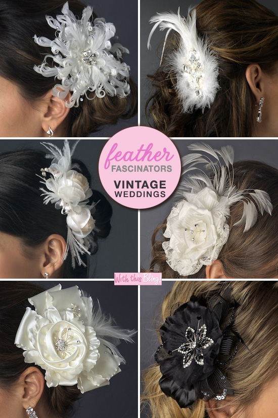 feather fascinators for vintage weddings