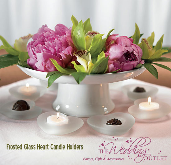 Frosted Glass Heart Candle Holders
