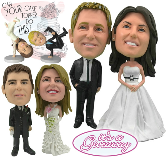 Giveaway 100 Towards Your Very Own One Of A Kind Personalized Bride Groom Cake Topper Figurines