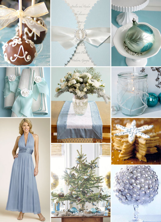 Pastel Blue And White Christmas Wedding