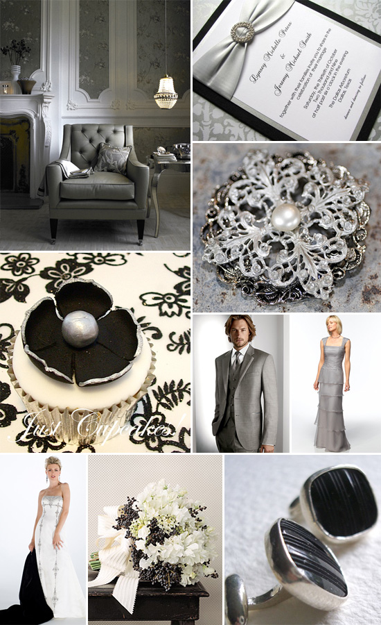 Black, White and Silver Wedding