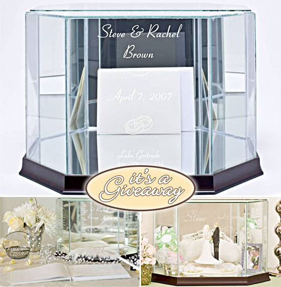 Giveaway Personalized Octagon Glass Wedding Card Box – Elegant Wedding Card Boxes