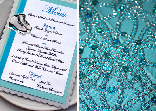 For The Round Tables, Classic Aqua Linens Were Used And Topped With A Hint  Of Glitz From Sequined, Aqua And Silver Table Runners In A Pattern That  Looked ...