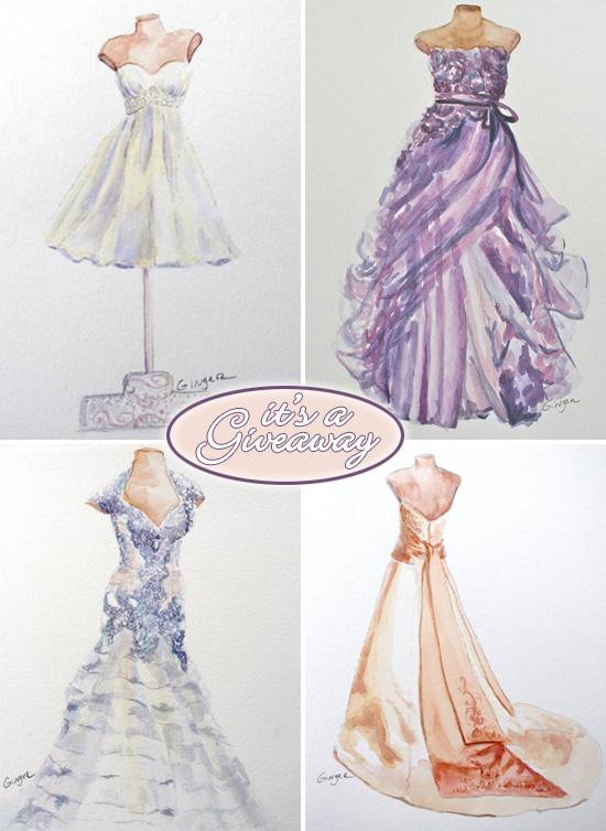 Giveaway Win An 8x10 Original Watercolor Of Your Wedding Dress