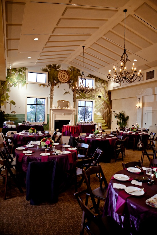 purple wedding reception | photo by www.chiphotographyofcharleston.com