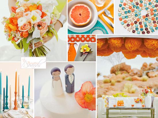 tangerine orange and aqua blue wedding