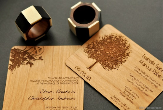 real wood invitations from cards by cristina