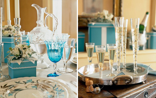 Eye Candy Friday : v48 {turquoise, silver and white table setting)