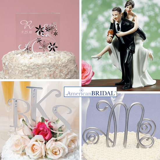 Customize your wedding cake with a cute topper   personalized napkins. Novelty Wedding Cake Toppers. Home Design Ideas