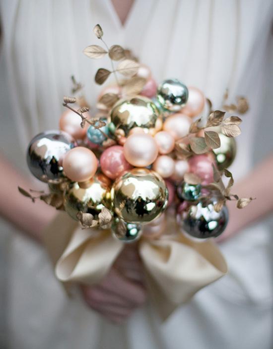DIY Holiday Ornament Wedding Bouquet