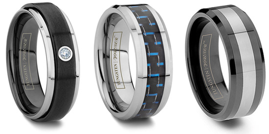 Sophisticated Black Tungsten Rings For The Guys