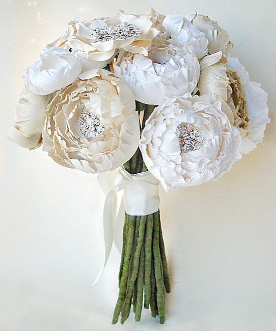 Real Vs Fake Flowers Wedding: Eye Candy Friday : V82 {bejeweled Silk Floral Bouquets}