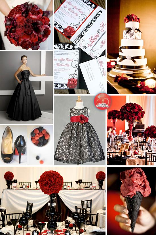 Inspiration Board A Dramatically Elegant Red And Black Wedding